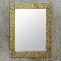 Mirror, 'Mughal Fantasy' - Handmade Embossed Brass Floral Wall Mirror from India