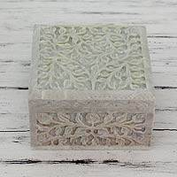 Soapstone jewelry box, 'Leafy Bower' - Hand Carved Natural Soapstone Jewelry Box from India