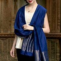 Cotton and silk shawl, 'Lapis Radiance' - Emrboidered Cotton and Silk Shawl