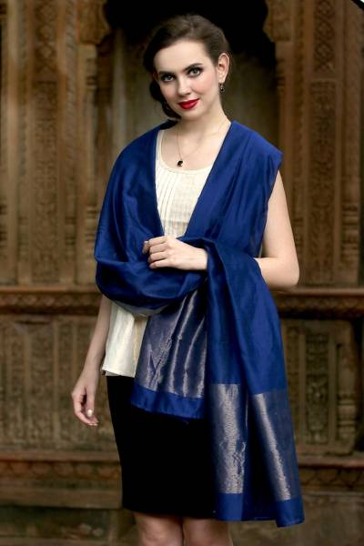 Cotton and silk shawl, 'Lapis Radiance' - Handwoven Cotton and Silk Shawl in Blue and Gold