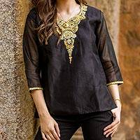 Beaded cotton and silk tunic, 'Midnight Princess'