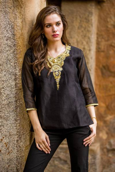 Beaded cotton and silk tunic, 'Midnight Princess' - Dressy Black Beaded and Embroidered Cotton and Silk Tunic
