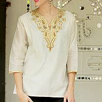 Beaded cotton and silk tunic, 'Morning Princess' - Embellished Tunic from India