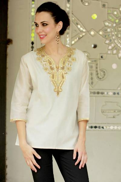 Beaded cotton and silk tunic, 'Morning Princess' - Ivory Beaded Gota Embroidery Cotton Blend Tunic from India