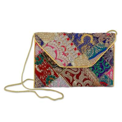 Beaded Patchwork Embroidered Purse of Recycled Fabric