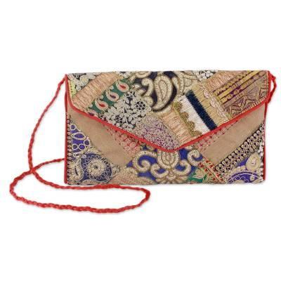 Upcycled beaded flap handbag, 'Festive Dream' - Embroidered Beaded Patchwork Purse of Recycled Fabric