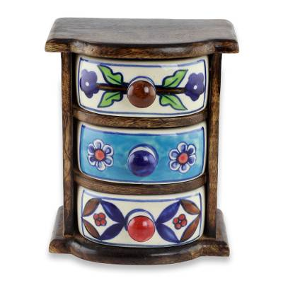 Unicef Market Handmade Mini Chest With 3 Ceramic Drawers From India Rustic
