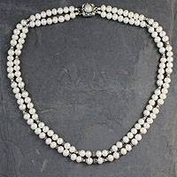 Cultured pearl strand necklace, 'Cloud Song' - Handmade Double Pearl Strand Silver Necklace from India