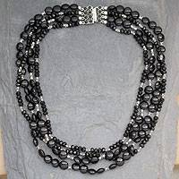 Onyx beaded necklace, 'Midnight Mystique - Four Strand Black Onyx Necklace With Sterling Silver