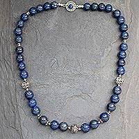 Lapis lazuli beaded necklace, 'Elegance' - Indian Hand-Crafted Sterling Silver and Lapis Lazuli Necklac