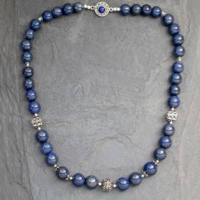 Lapis lazuli beaded necklace, 'Elegance' - Handmade Sterling Silver and Lapis Lazuli Beaded Necklace