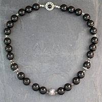 Onyx beaded necklace, 'Imperial'