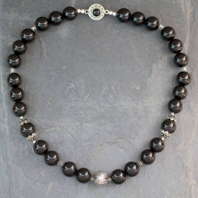 Onyx beaded necklace, 'Imperial' - Indian Handmade Black Onyx and Sterling Silver Necklace