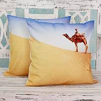 Cotton cushion covers, 'Rajasthan Horizon' (pair) - Desert Scene Cotton Cushion Cover Pair from India
