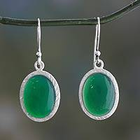 Green onyx dangle earrings, 'Woodland Dew' - Enhanced Green Onyx and Sterling Silver Earrings