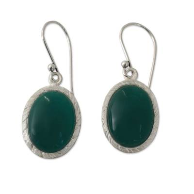 Enhanced Green Onyx and Sterling Silver Earrings