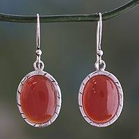 Carnelian dangle earrings, 'Captivating Sunset' - Fair Trade Carnelian and Silver Earrings from India