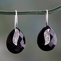 Onyx drop earrings, 'Midnight Flora' - Handmade Black Onyx and Sterling Silver Leaf Earrings