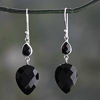 Onyx dangle earrings, 'Delhi Allure' - Faceted Black Onyx Dangle Earrings from India