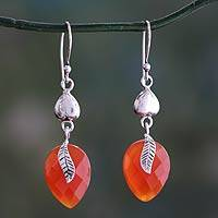 Carnelian dangle earrings, 'Dawning Nature' - Sterling Silver and Carnelian Leaf Dangle Earrings