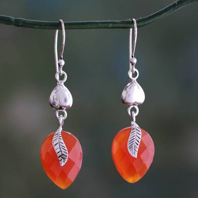 Carnelian dangle earrings, 'Dawning Nature' - Carnelian and Sterling Silver Dangle Earrings
