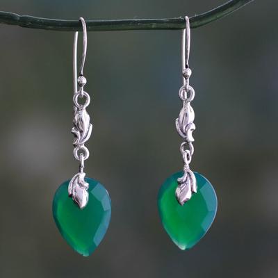 Green onyx dangle earrings, 'Lush Forest' - Enhanced Green Onyx Dangle Earrings from India