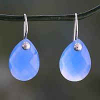 Chalcedony drop earrings, 'Halcyon Days' - Faceted Sky Blue Chalcedony Earrings from India