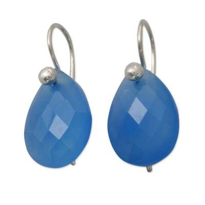 Faceted Sky Blue Chalcedony Earrings from India