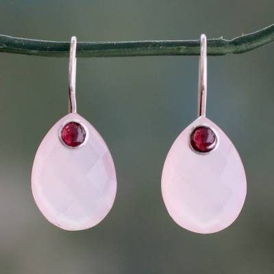 Chalcedony and garnet drop earrings, 'Rosy Outlook' - Pink Chalcedony and Garnet Gemstone Drop Earrings