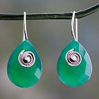 Enhanced green onyx drop earrings, 'Nature's Spell' - Fair Trade Green Onyx Drop Earrings from India