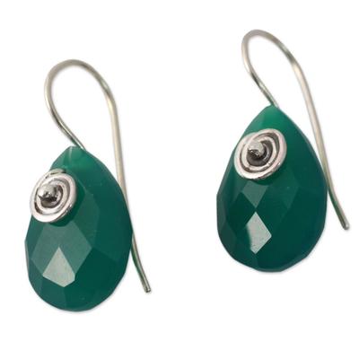 Fair Trade Green Onyx Drop Earrings from India