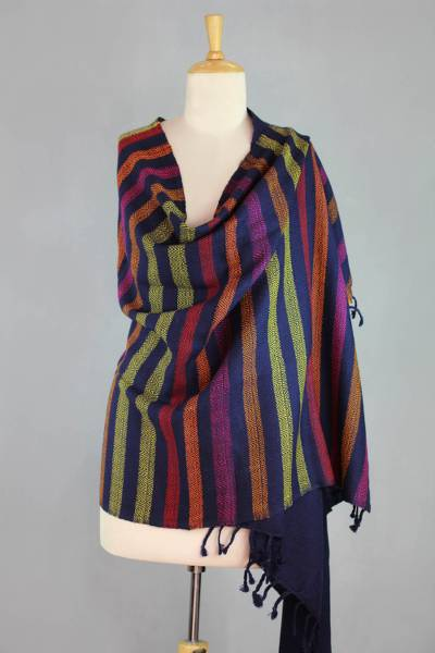 Wool shawl, 'Indian Diamonds' - Handwoven Blue Striped Wool Shawl from India