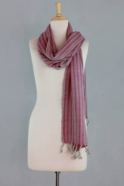 Wool scarf, 'Himalayan Path' - India Handwoven Fuchsia Wool Scarf with Grey and Ivory