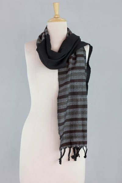Wool scarf, 'Night Shadows' - India Handwoven Black Wool Scarf with Grey and Brown
