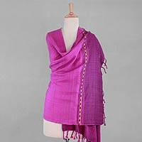 Wool shawl, 'Himalayan Dawn' - Handwoven Hot Pink Wool Shawl from India