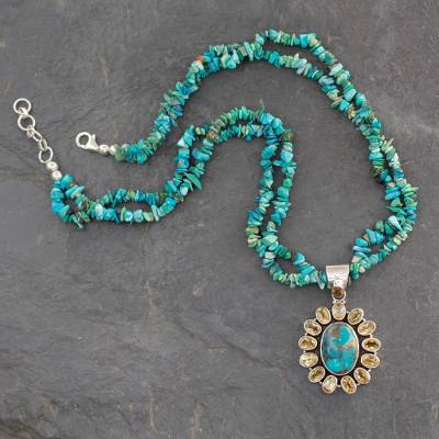 Citrine pendant necklace, 'Sunny Sky' - Opulent Indian Necklace with Citrine and Turquoise