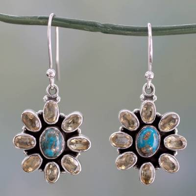 Citrine dangle earrings, 'Sunny Sky' - Fair Trade Indian Earrings with Citrine and Turquoise
