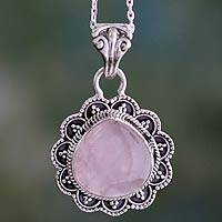 Rose quartz pendant necklace, 'Petals' - Artisan Crafted Silver and Rose Quartz Pendant Necklace