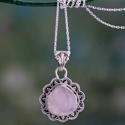 Rose quartz pendant necklace, 'Fair Rose' - Artisan Crafted Silver and Rose Quartz Pendant Necklace