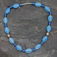 Chalcedony beaded necklace, 'Sea Song' - India Blue Chalcedony Necklace with Sterling Silver Accents