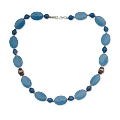 India Blue Chalcedony Necklace with Sterling Silver Accents
