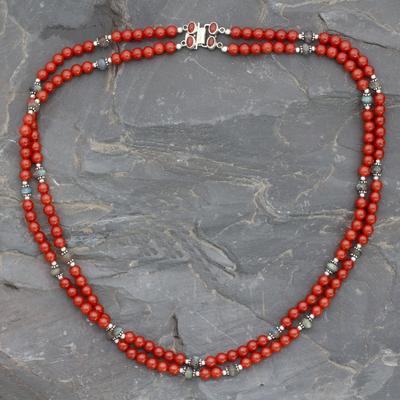 Carnelian and labradorite beaded necklace 'Bright Hopes' - Double Carnelian Strand Beaded Necklace with Labradorite