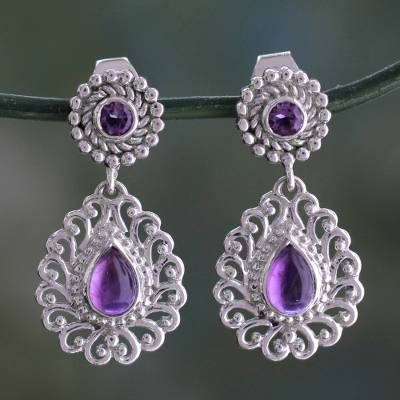 Amethyst dangle earrings, 'Bangalore Lilac' - Indian Handcrafted Sterling Jali Earrings with Amethyst