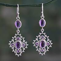 Amethyst dangle earrings, 'Jaipuri Lace' - India Handcrafted Amethyst and Sterling Silver Jali Earrings