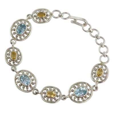 India Silver Bracelet with Citrine and Blue Topaz