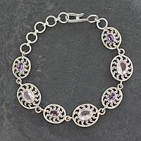 Amethyst and rose quartz link bracelet, 'Radiance' - Indian Silver Bracelet with Amethyst and Rose Quartz
