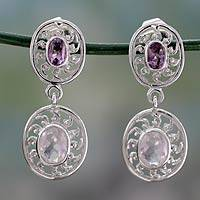 Amethyst and rose quartz dangle earrings, 'Radiance' - Hand Crafted Silver Earrings with Amethyst and Rose Quartz