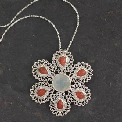 Moonstone pendant necklace, 'Perfect Peace' - India Handcrafted Sterling Jali Necklace with Moonstone