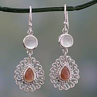 Moonstone dangle earrings, 'Perfect Peace' - India Handcrafted Sterling Jali Earrings with Moonstone