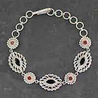 Onyx and garnet link bracelet, 'Andaman Fern Forest' - Ornate Silver Jali Bracelet with Faceted Onyx and Garnets
